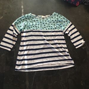 Anthropologie Bird and Stripes t-shirt